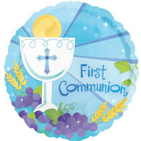 Foil Blue Communion Balloon 18in