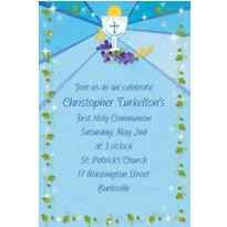 Blue First Communion Custom Invitation