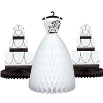 Black & White Wedding Honeycomb Centerpieces 3pc
