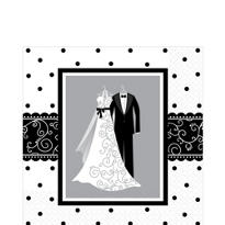 Black & White Wedding Lunch Napkins 16ct