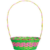 Green and Pink Paint Splatter Easter Basket