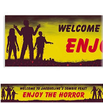 Beware Zombies Halloween Custom Banner
