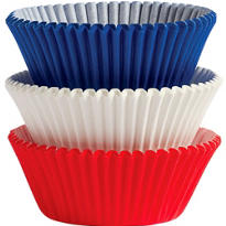 Standard Red White and Blue Baking Cups 75ct