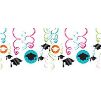 Colorful Commencement Swirl Decorations 12ct