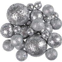 Silver Glitter Spheres 24ct