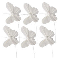 White Feather Butterfly Pick Wedding Favor Accessory