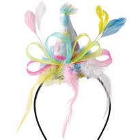 Pastel Dots & Feathers Party Hat Headband