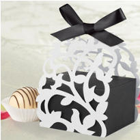 Black & White Die Cut Favor Box Kit 24ct