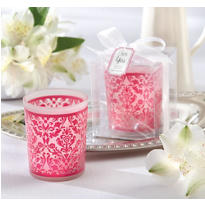 Pink Damask Tealight Candle Holder