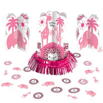 Pink Safari Baby Shower Table Decorating Kit 23pc