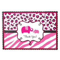 Pink Safari Baby Shower Thank You Notes 20ct