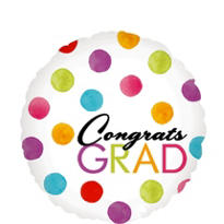 Foil Watercolor Dots Graduation Balloon 18in