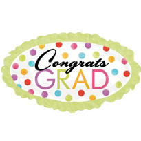 Foil Watercolor Dots Marquee Graduation Balloon 35in