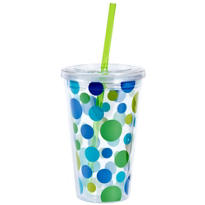 Blue Polka Dot Double Wall Tumbler with Straw