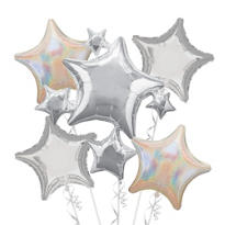 Foil Silver Stars Balloon Bouquet 5pc
