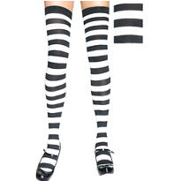 Adult Black and White Stripe Thigh High Stockings