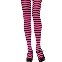 Adult Pink and Black Striped Tights