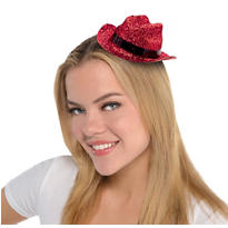 Mini Red Glitter Cowboy Hat