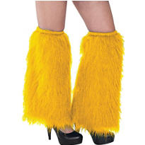 Yellow Furry Leg Warmers
