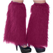 Burgundy Furry Leg Warmers