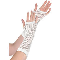 Long White Fishnet Gloves Deluxe
