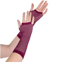 Long Burgundy Fishnet Gloves Deluxe