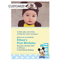 Mickey Mouse 1st Birthday Custom Photo Invitation