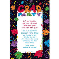 Custom Colorful Grad Party Graduation Invitations