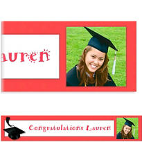 Red Congrats Grad Custom Photo Banner 6ft