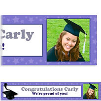 Purple Congrats Grad Custom Photo Banner 6ft