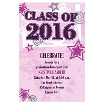 Pink Class Year with Stars Custom Graduation Invitation