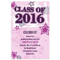 Pink Class Year with Stars Custom Graduation Invitation