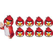 Paper Angry Birds Masks 8ct