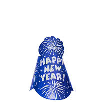 Glitter Blue Foil New Years Cone Hat