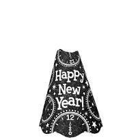Glitter Black New Years Cone Hat
