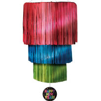 Jewel Tone New Years Foil Chandelier 38in