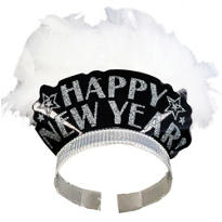 Silver Elegant New Years Feather Tiara