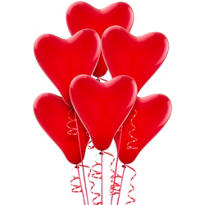 Latex Red Heart Balloons 12in 6ct