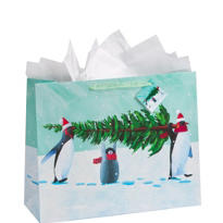 Large Penguins Gift Bag 12in