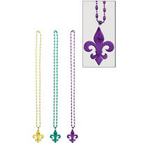 Mardi Gras Beads with Fleur De Lys Pendants 42in 3ct