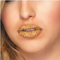 Gold Glitter Lip Tattoos