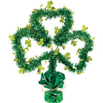 Tinsel Shamrock Centerpiece 14in
