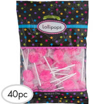 Bright Pink Lollipops 48pc