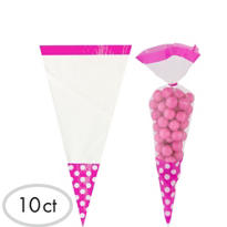 Bright Pink Cone Favor Bags 10ct