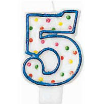 Number 5 Polka Dot Birthday Candle 3in