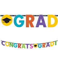 Colorful Commencement Letter Banner 10ft