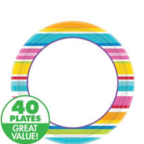 Striped Border Lunch Plates 40ct