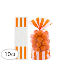 Orange Striped Favor Bags 10ct