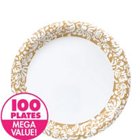 Gold Damask Heavy Duty Lunch Plates 100ct
