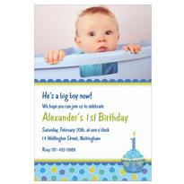 Sweet Little Cupcake Boy Custom Photo Invitation